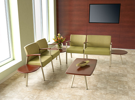 SolticeMetal Multiple 2Seat 90DegreeConctTbl 2SeatBariatric WoodArms EndConctTbls RectCoffeeTbl