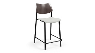 Katera Cafe Stool | Upholstered Seat and Wood Back