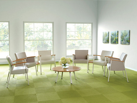 SolticeMetal Multiple SingleChairs 45DegreeConctTbls RoundCoffeeTbl