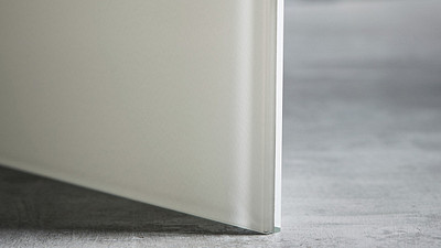 "Glass | 3/8"" White Laminate, 10% Opacity, Low Iron"