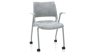Doni Stack Chair | 4-Leg with Casters with Solid Shell (Upholstered Seat & Back)