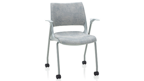 4-Leg with Casters with Solid Shell (Upholstered Seat & Back)