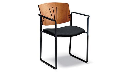 square sled wood back uph seat