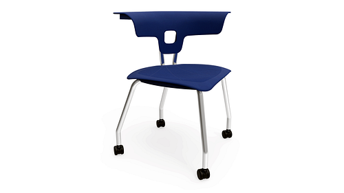 4-Leg Chair with Casters, Poly Seat