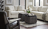 Living room with Meyer Loveseat and Sofa, Nouveau Reclining Chair, and Leo Ottoman