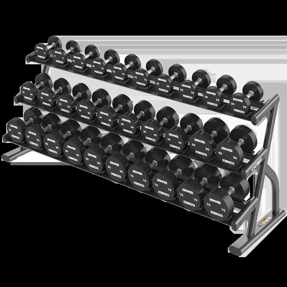 Трехъярусная длинная стойка для шестигранных гантелей (укладка в полумесяцы) серии Ion