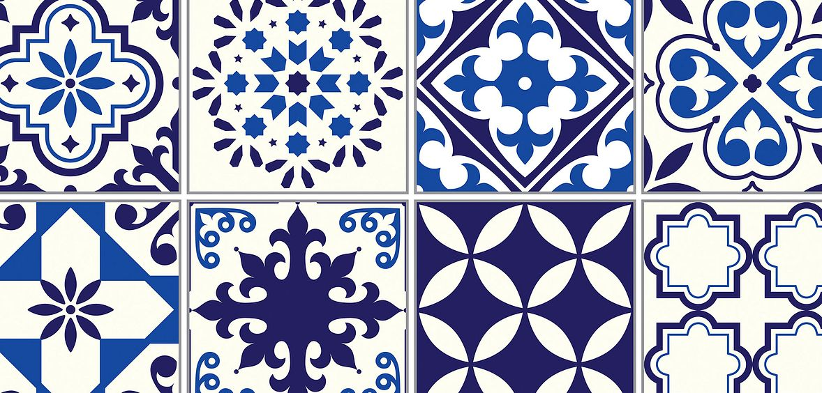 Intricate blue tiles for Mediterranean Escape design trend