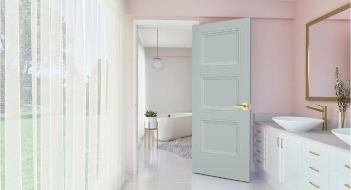 solid core door being featured in a bathroom