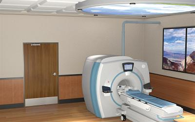 Hospital imaging room with radiation-shield doors