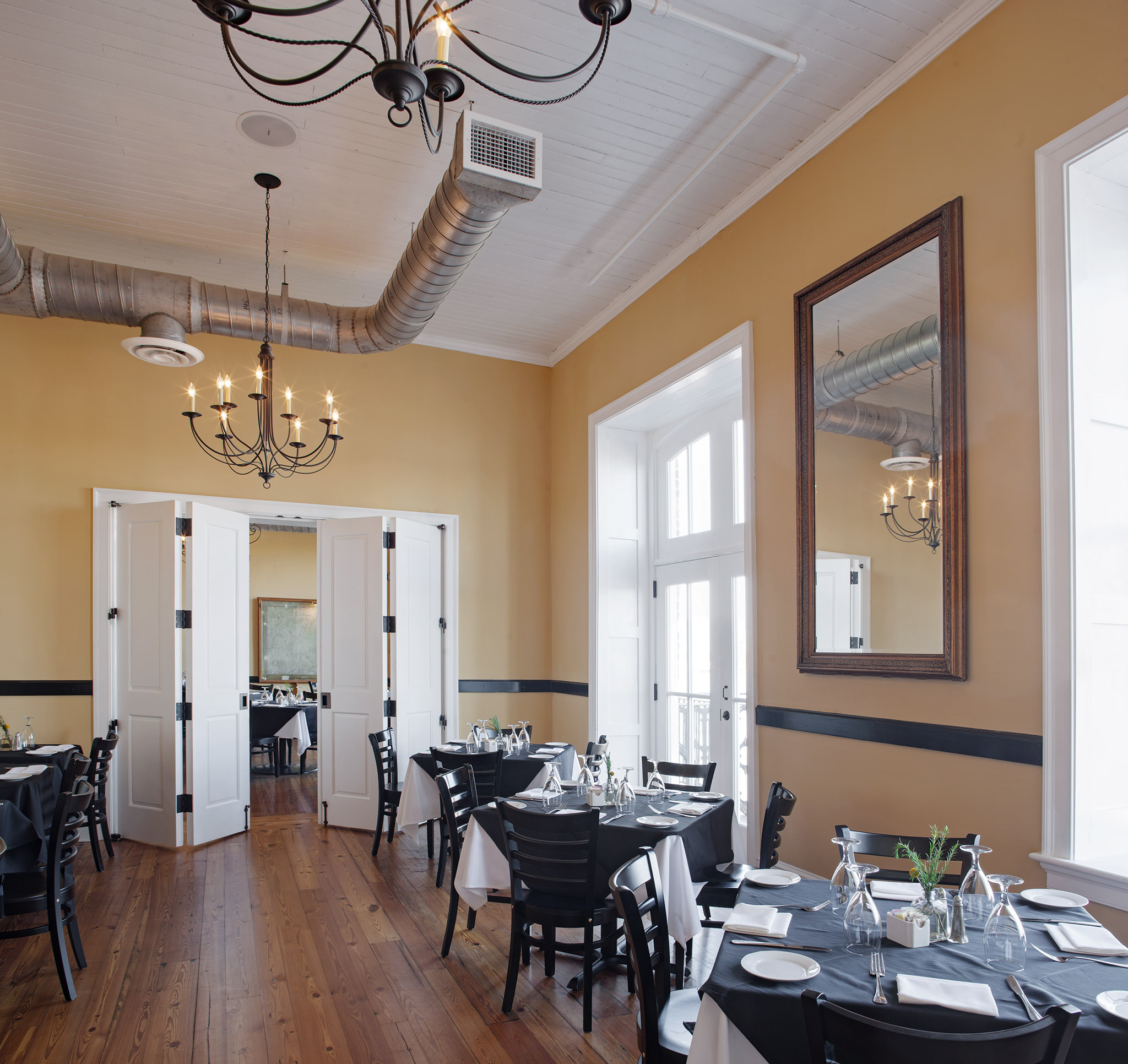 Vics remodeled dining room with Masonite Architectural stile and rail doors in the background.