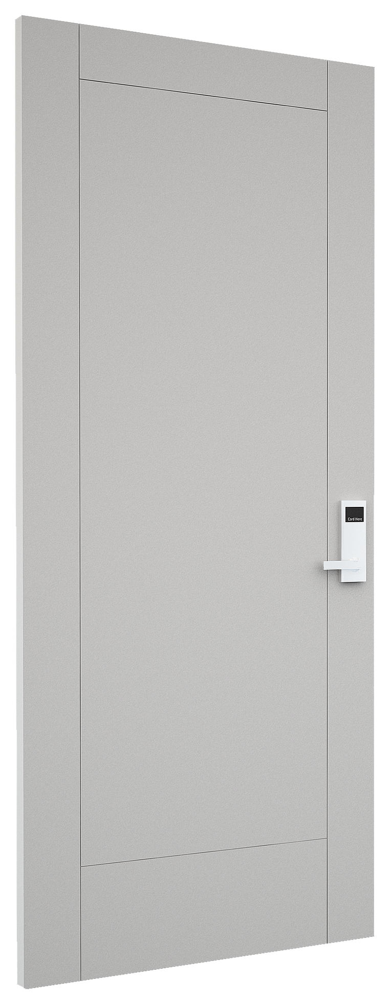 A sleek white-painted door with subtle panel detailing and silver handle