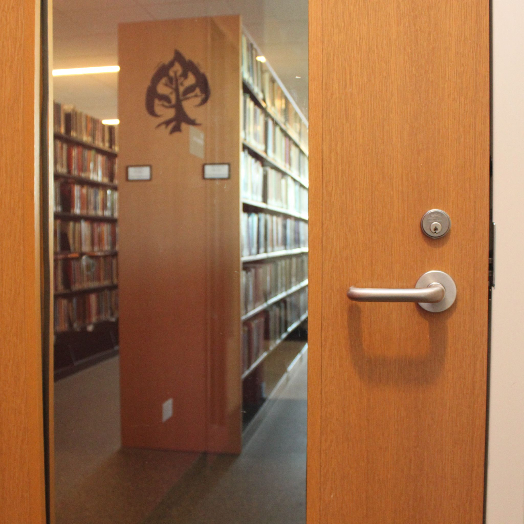 Library seen through glass of interior wooden door.