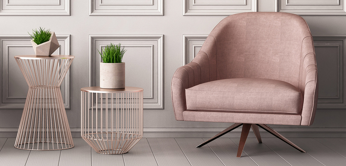 Pink chair and modern plant holders showcase Pretty + Calm design trend