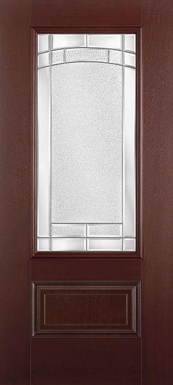 Belleville Exterior Fiberglass Door with Decorative Glass
