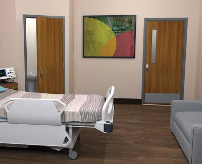Hospital Patient Room with STC Rated acoustic doors