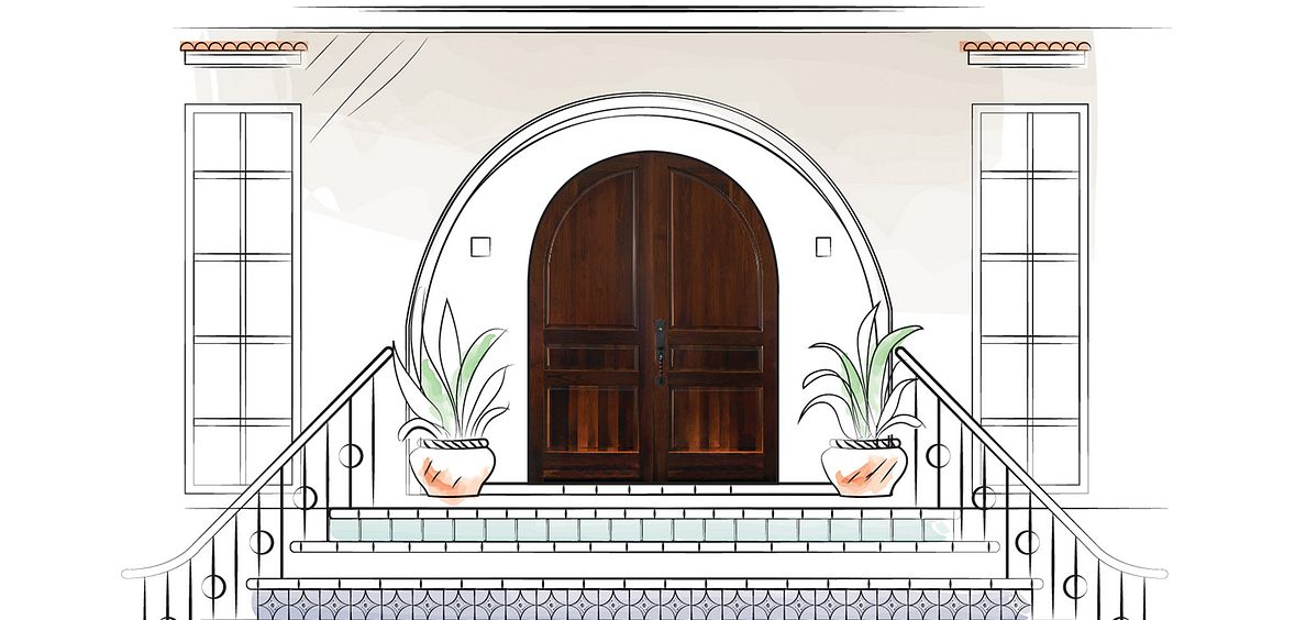 Mediterranean Escape home with tiles and arched panel wood doors