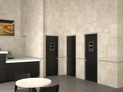 Restaurant or retail bathroom doors