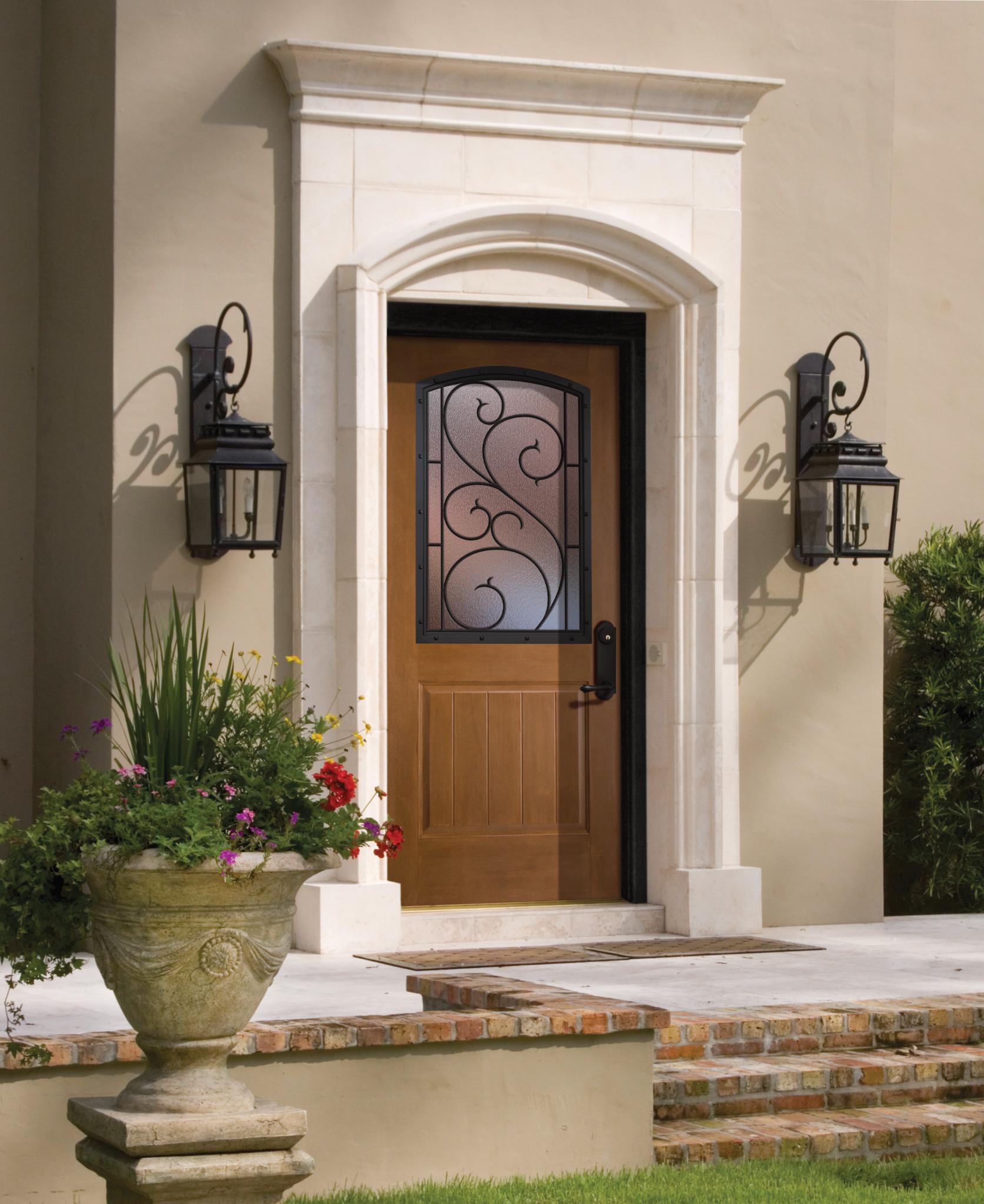 Portes extérieures à 1panneau et demi-fenêtre avec courbure