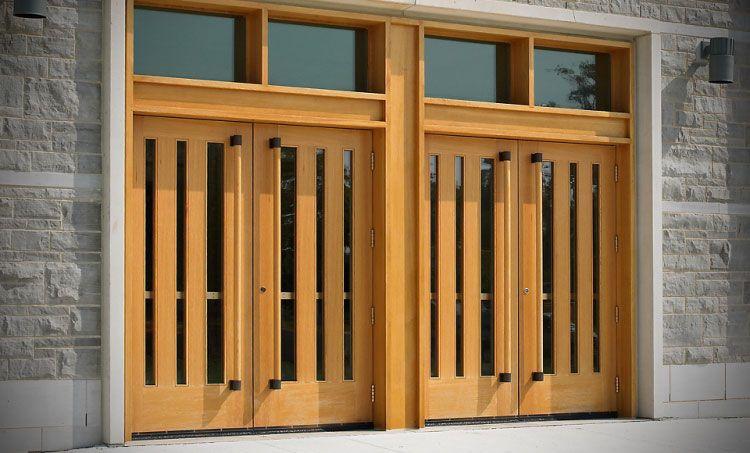 Masonite Architectural stile and rail doors at university entrance.