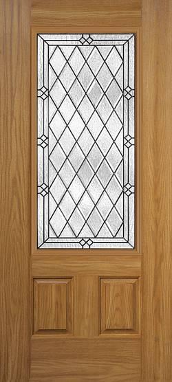 Oakcraft Fiberglass Door with Decorative Glass Insert