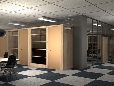 Natural wood veneer doors in office common areas