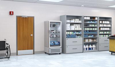 Hospital supply room with an extra heavy duty Aspiro door
