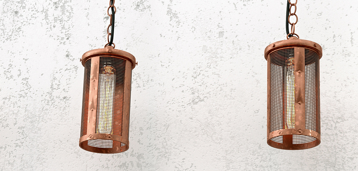 Rustic Luxury light fixtures made of copper and mesh
