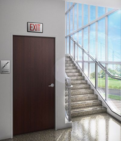 exit door next to staircase