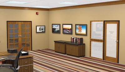 Hospital office area with premium heavy duty stile and rail Aspiro doors