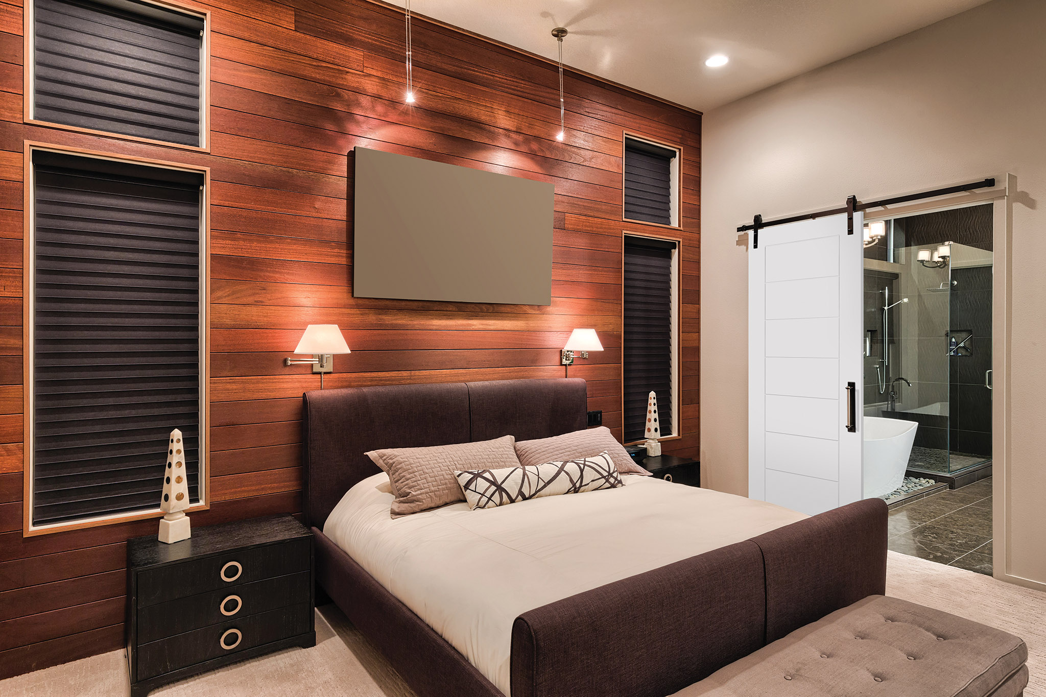 Hotel room with MDF Square Groove doors.