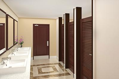 Masonite Doors used in hospitality restrooms, including bathroom stall doors