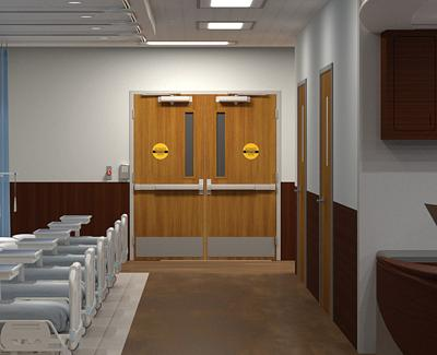 Emergency Room corridor with high impact doors