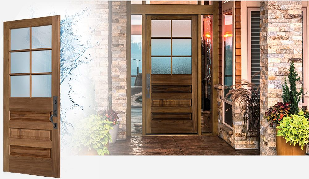 Masonite Exterior Wood Doors with AquaSeal™ technology in a rustic brick home at sunset