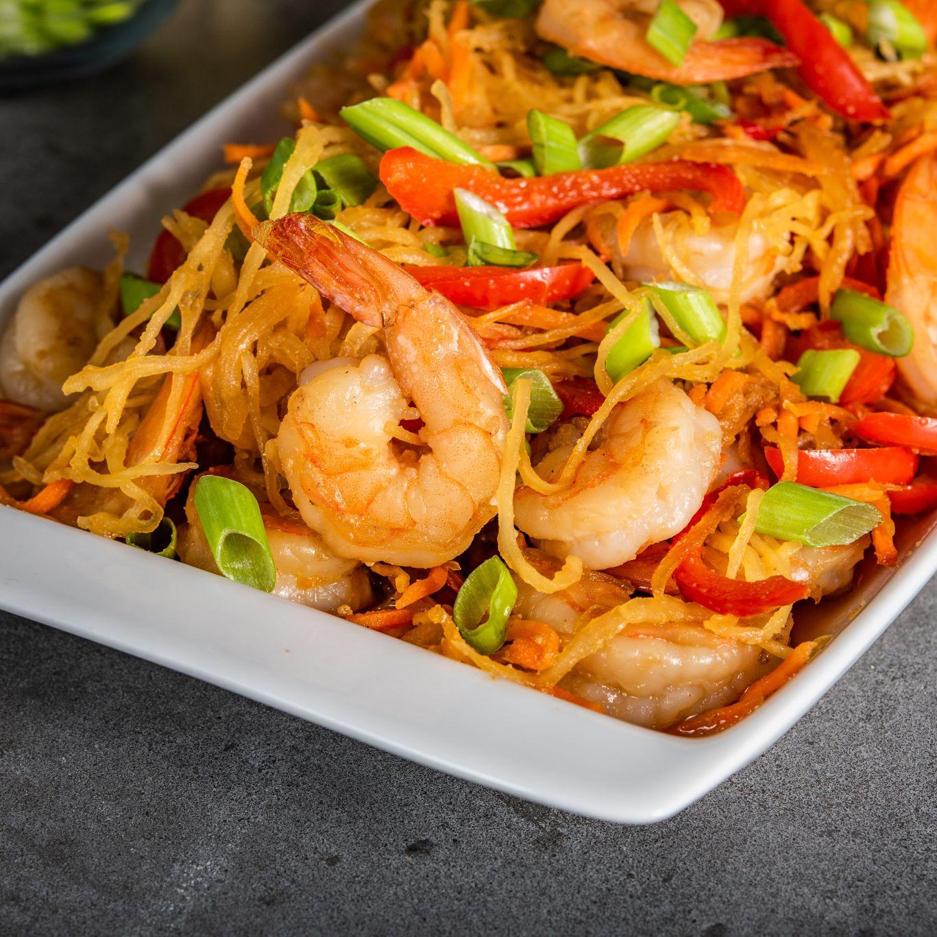 Spaghetti Squash Shrimp Lo Mein