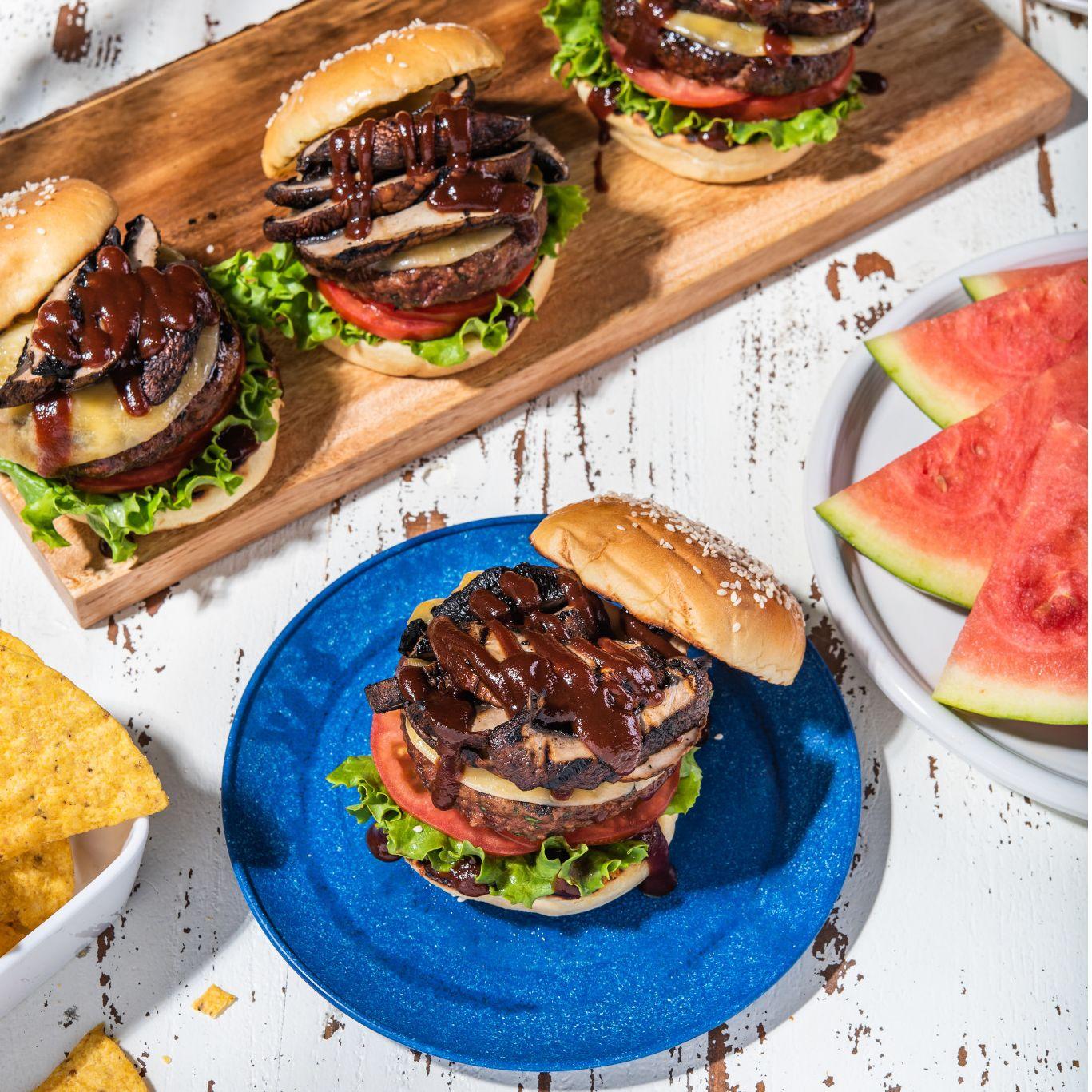 BBQ Burgers with Smoked Gouda & Portobellos