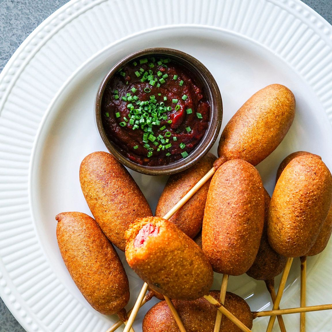 Chili Spiced Mini Corn Dogs