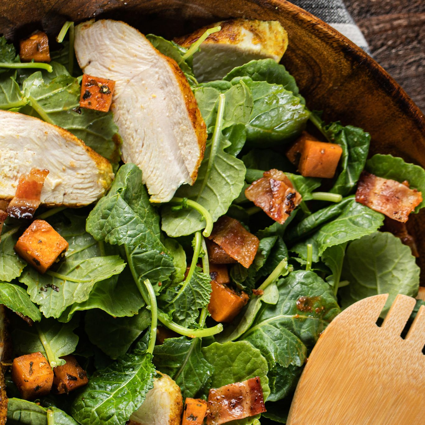 Roasted Sweet Potato, Chicken & Kale Salad with Cilantro