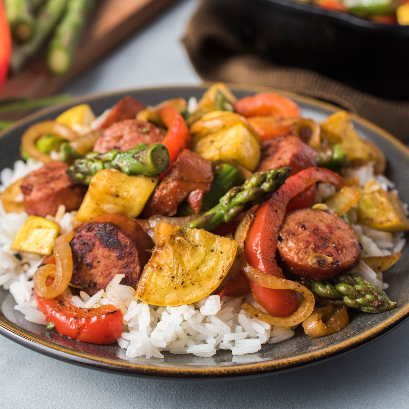 Cajun Sausage and Vegetable Skillet