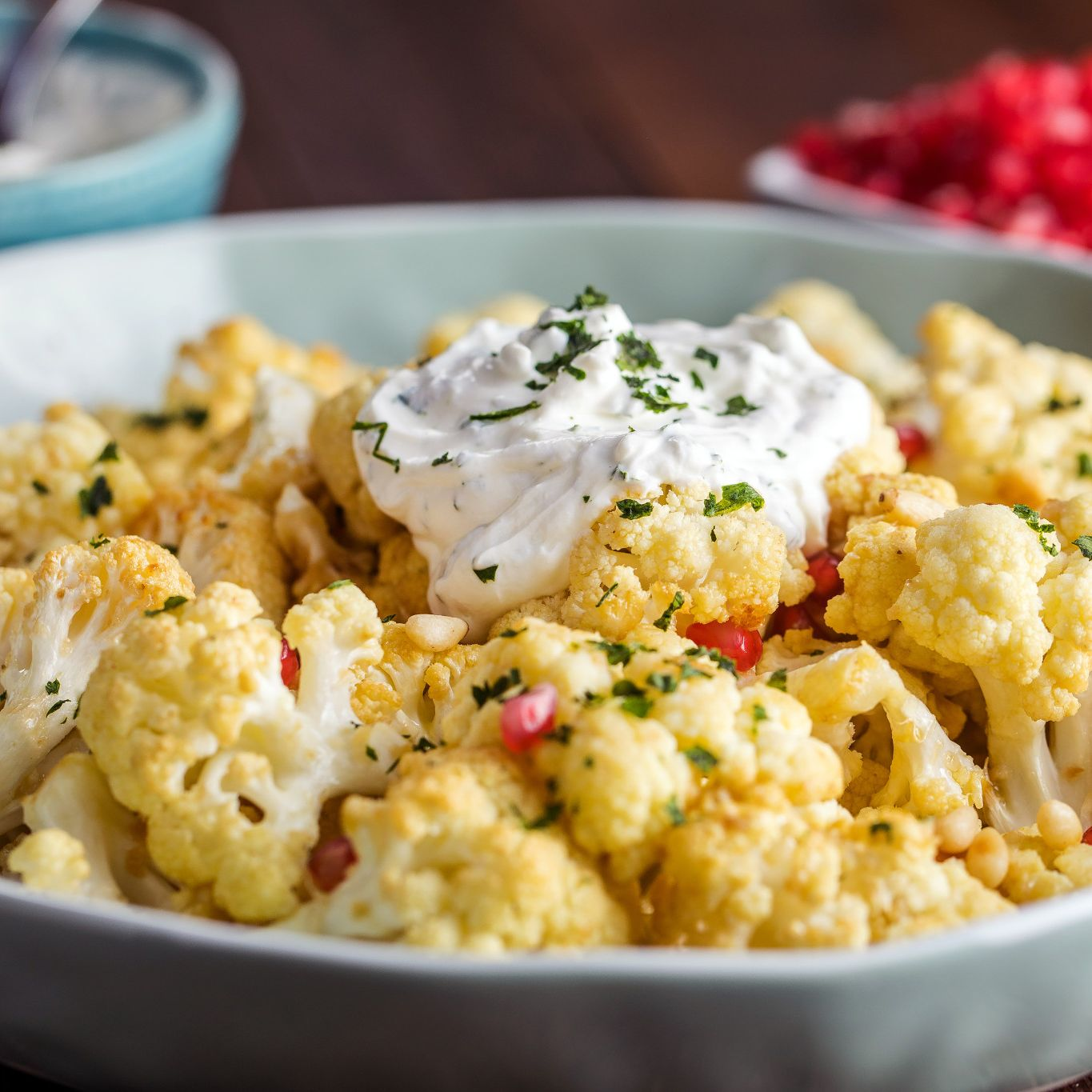 Garlic Roasted Cauliflower with Pomegranate and Pine Nuts Recent