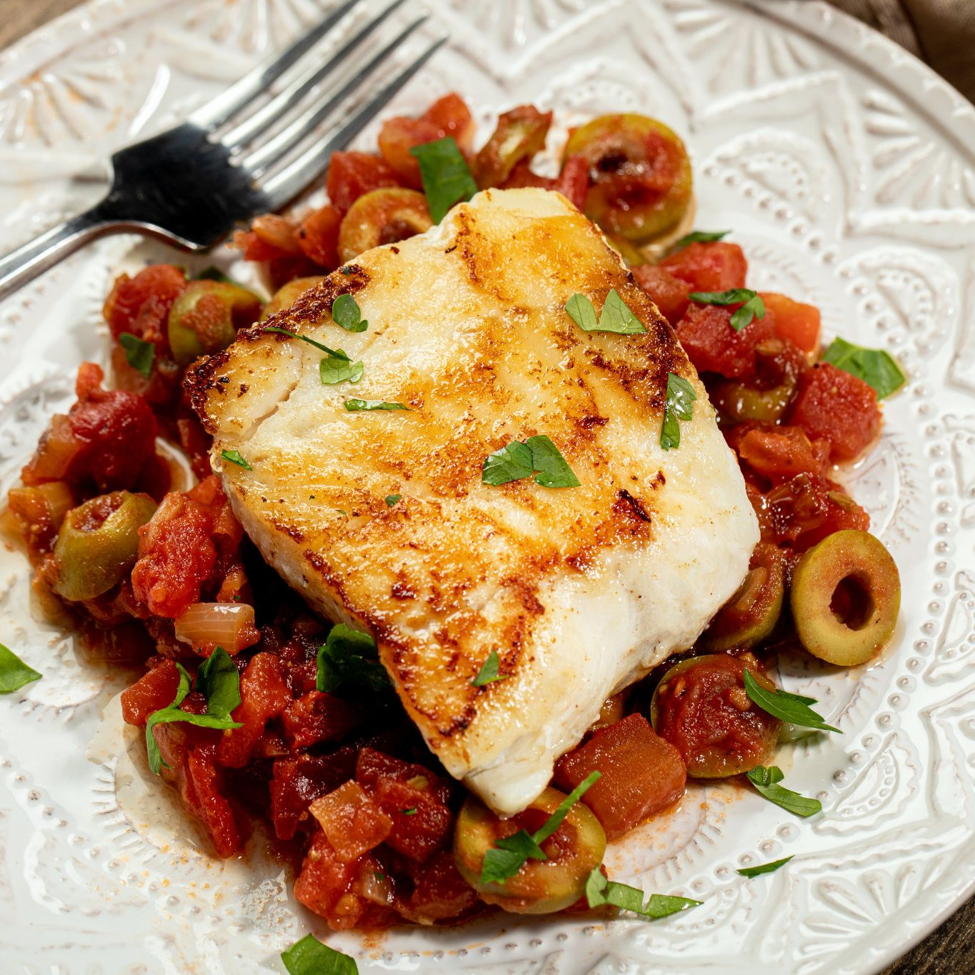 Alaskan Pacific Cod with Spicy Fennel & Tomato Sauce