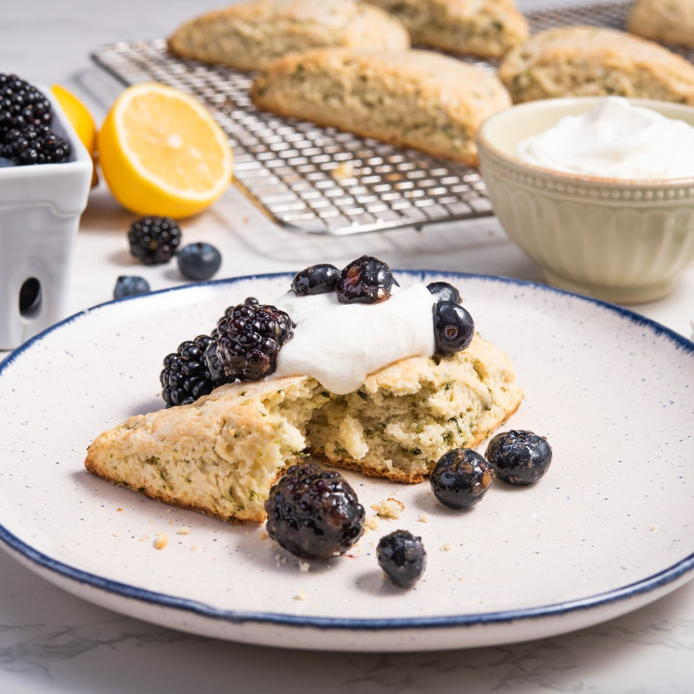 Basil Scones with Gingered Berries and Whipped Cream