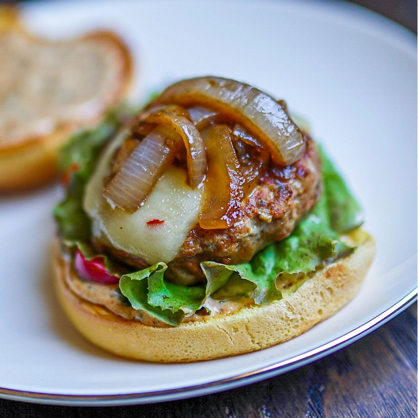 Taco Turkey Burgers with Ancho Chile Aioli & Onion Confit