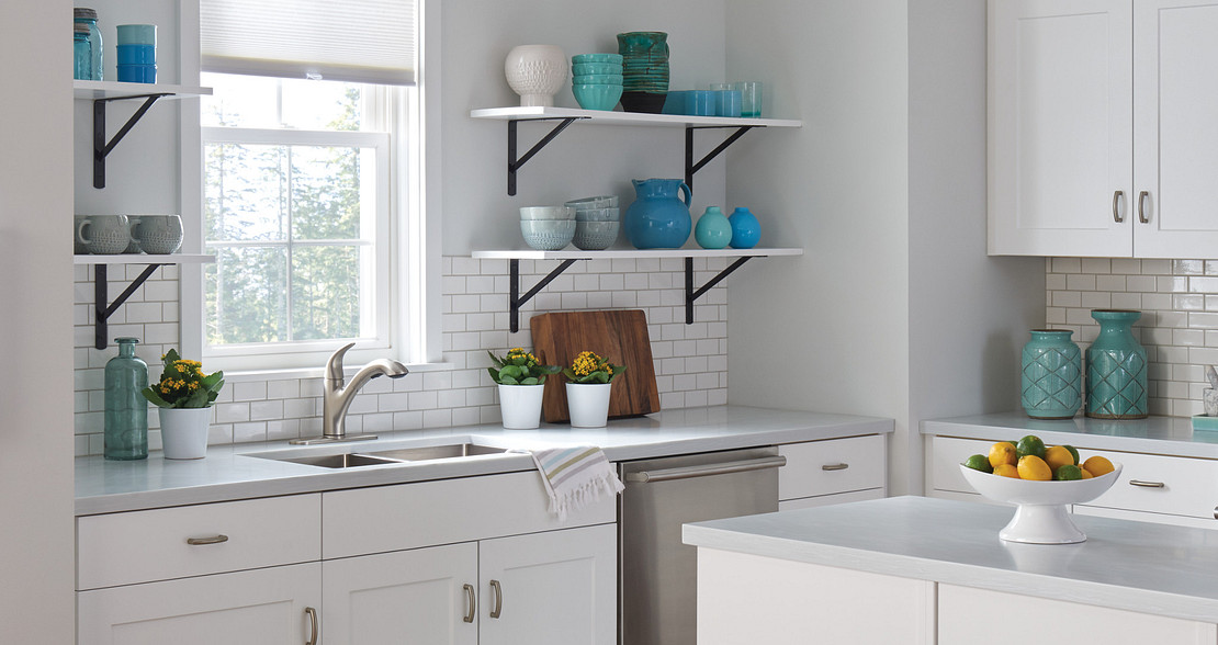 open shelves exaggerate a sense of openness in the kitchen