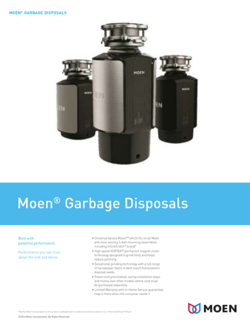 Moen Garbage Disposals Literature