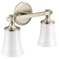 Flara Brushed nickel two globe bath light