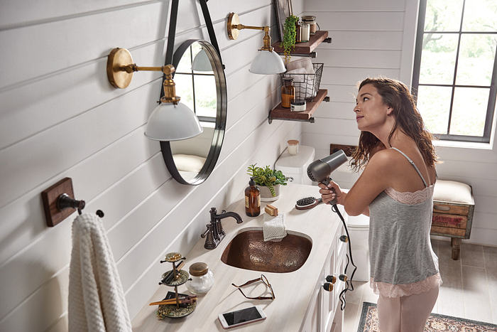 Bathroom with multiple metal finishes