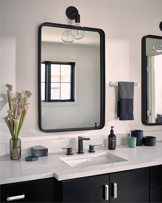 Via Matte Black Chrome Two-Handle Low Arc Bathroom Faucet