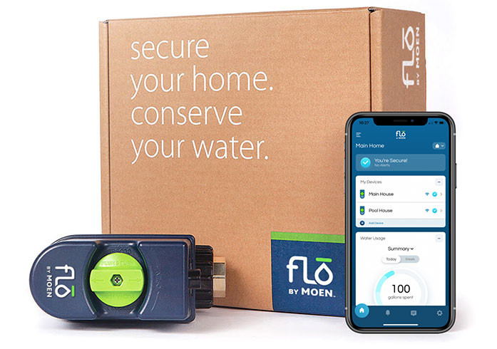 The Flo by Moen shutoff product in front of the packaging box, next to a smart phone displaying a status summary in the Moen Plus app