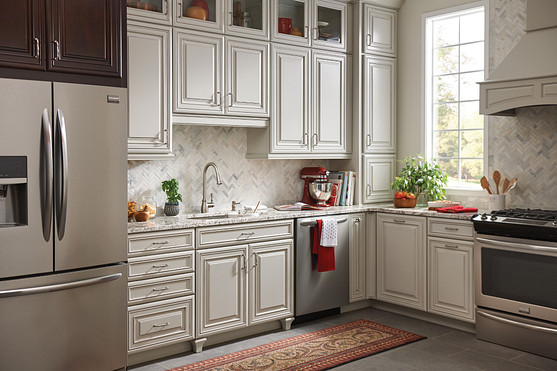 Fieldstone Spot Resist Stainless Kitchen Faucet with Cabinets