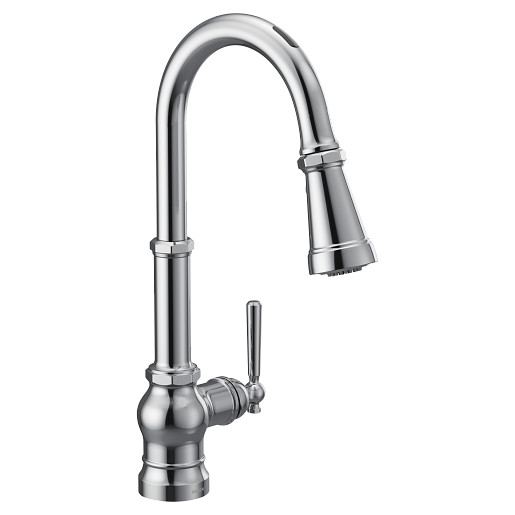 U by Moen Smart Faucet Chrome One-Handle High Arc Pulldown Kitchen Faucet in Paterson